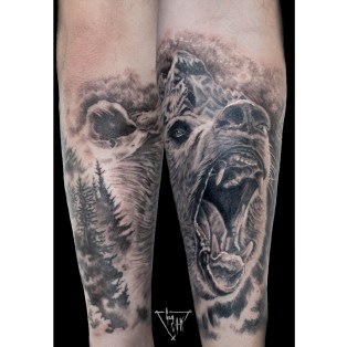 Bear, Montain, Forest Tattoo