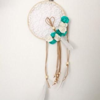capteur-de-reves-dentelle-floral-turqoise-blanc-a-plumes-la-boite-ateliers-creatifs