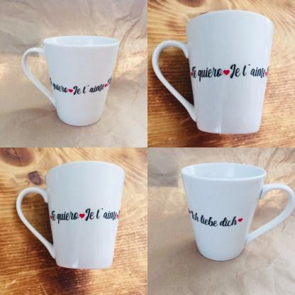 Tasse à café je t'aime en 4 langues