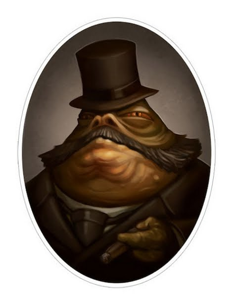 Star Wars Jabba victorian portrait drawing 02 portraits of Star Wars characters in Victorian style