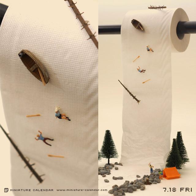 calendrier diorama miniature 02 Un diorama miniature par jour avec des objets détournés