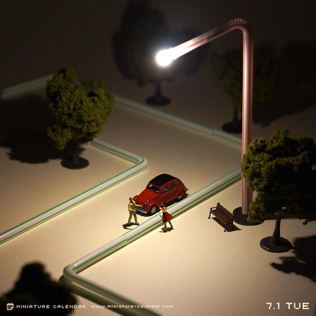 calendrier diorama miniature 04 Un diorama miniature par jour avec des objets détournés
