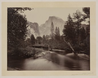 11-Carleton-Watkins-Stream-and-trees-with-Half-Dome-in-background-Yosemite-Valley-Calif-1860