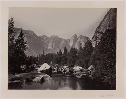 15-Carleton-Watkins-Stream-with-trees-and-mountains-in-background-Yosemite-Valley-Calif-1860