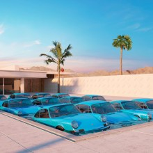 Des Porsche dans des situations improbables à Palm Springs