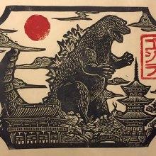 Des kaijus très détaillés en gravure sur bois