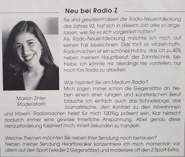 Zeitungsartikel über meine Anfangszeit bei Radio Z als Radiomoderatorin