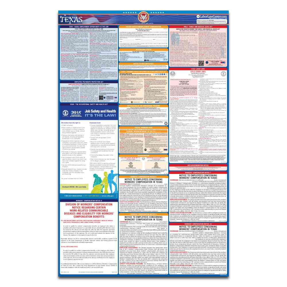 texas federal labor law poster 2021 replacement service