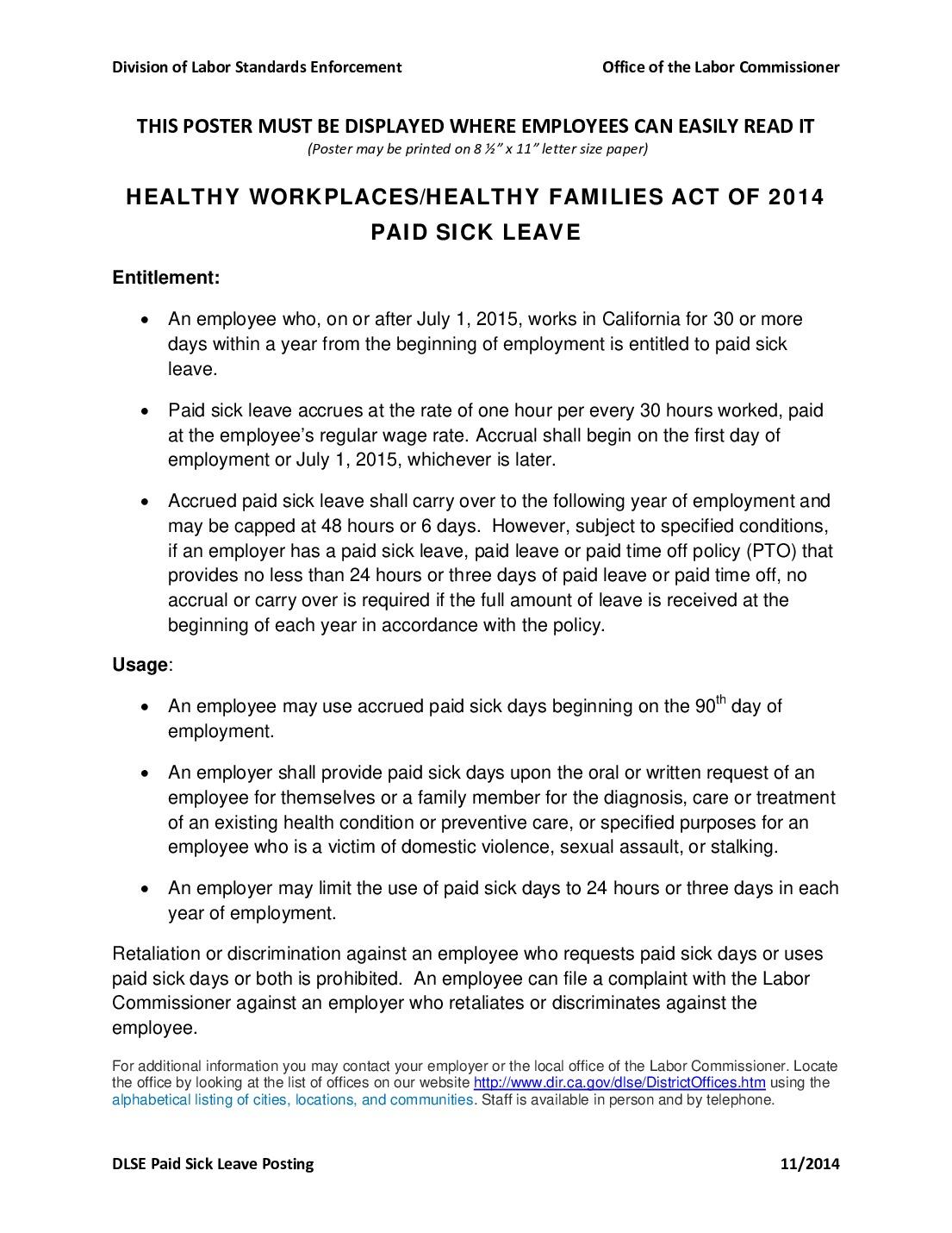california sick leave labor law poster