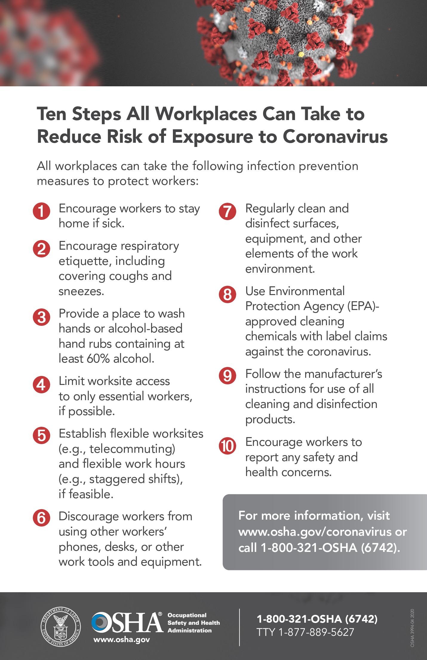 free health osha coronavirus risk labor