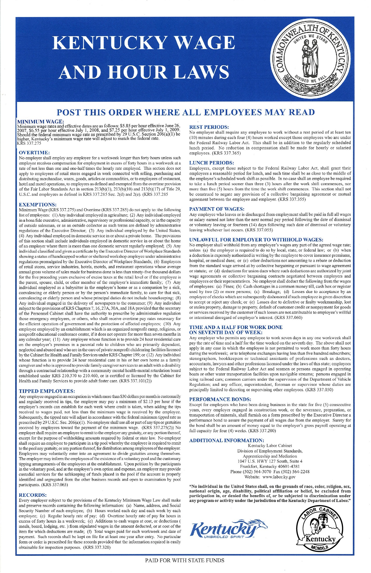 kentucky child labor labor law poster 2021