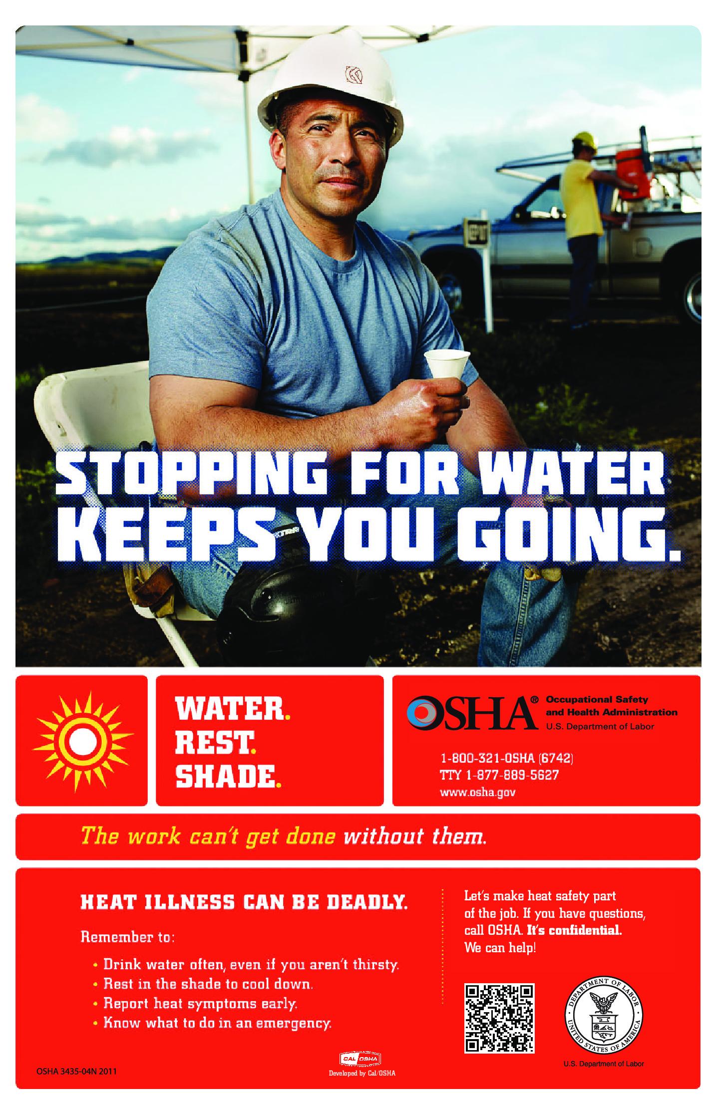 osha heat illness water poster