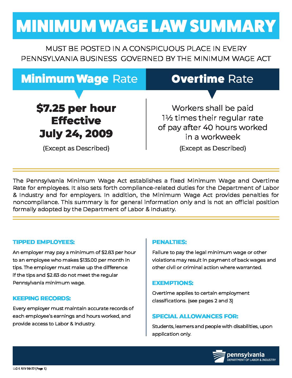 pennsylvania minimum wage law poster