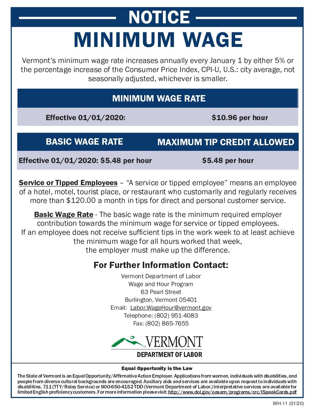 free vermont minimum wage 2021