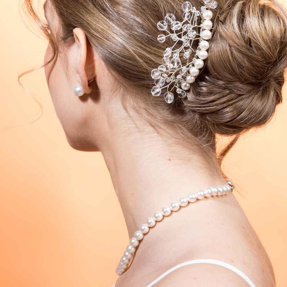 Parure collana, orecchini e accessorio capelli con perle Swarovski bianche