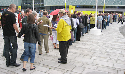 Activists leafletting a Leonard Cohen concert in Liverpool