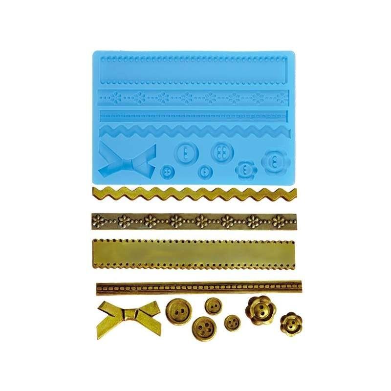 moule en silicone pour pate a sucre boutons et rubans