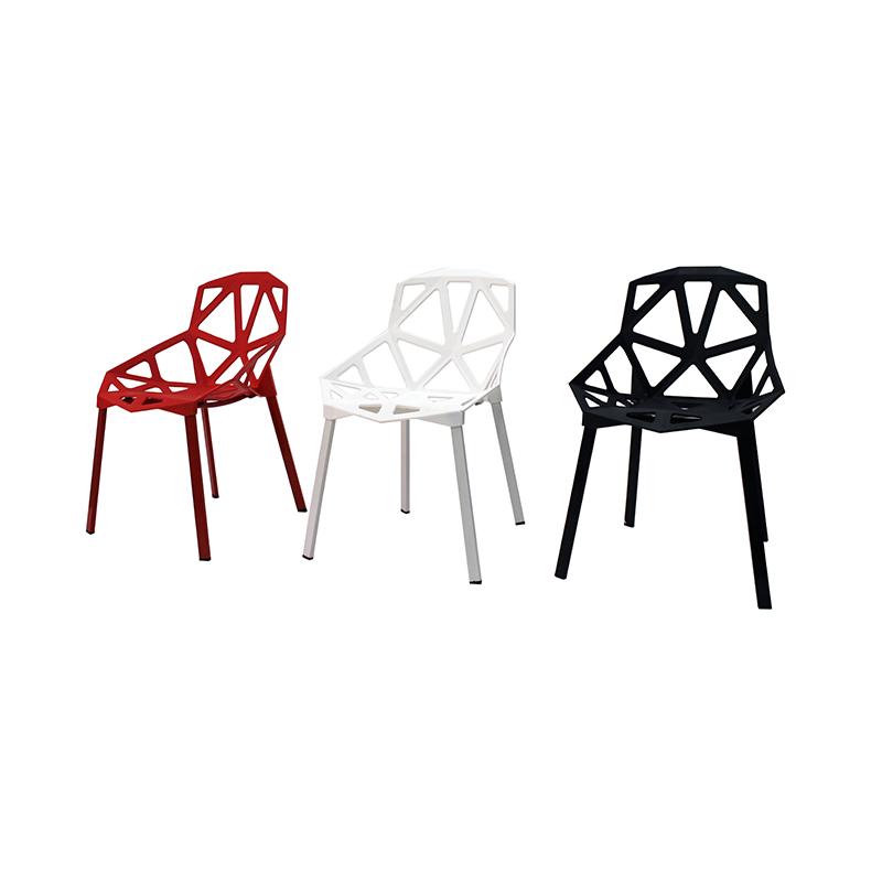 chaise design plastique pied en metal 9088 lot de 4