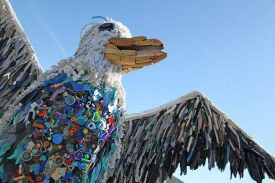 Arte hecho basura playas concienciar