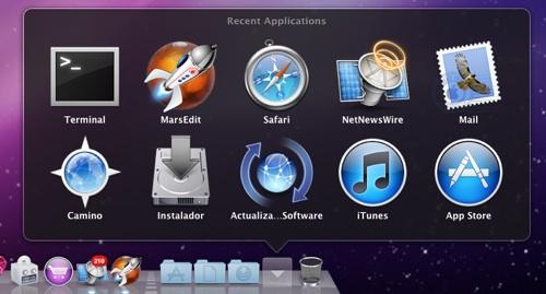 Stack dock aplicaciones recientes