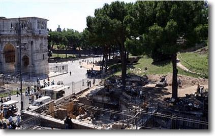 La colina del Palatino en Roma se hunde