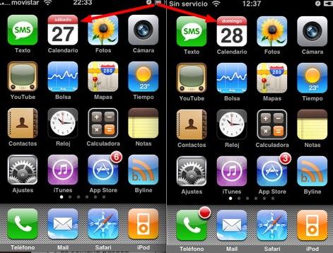 iPhone: fecha en pantalla