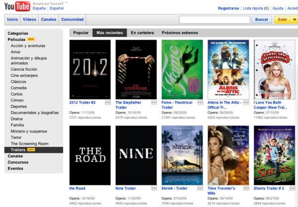 YouTube lanza una página de Películas y Trailers