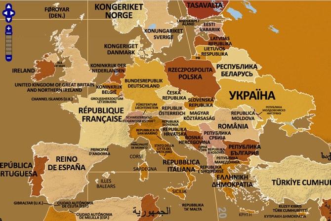 Mapa mundial de endónimos