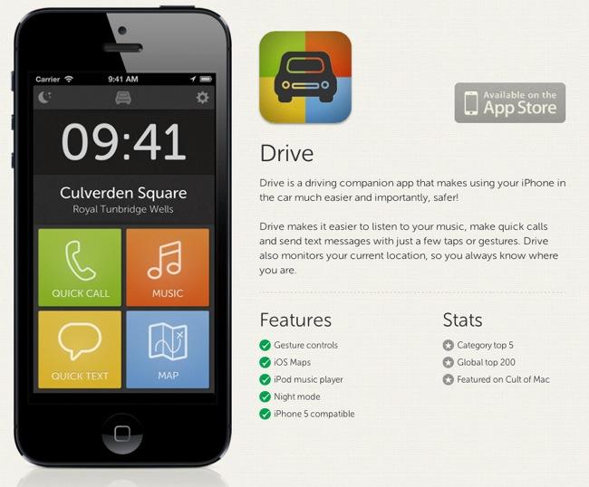 Drive: una app para usar el iPhone en el coche