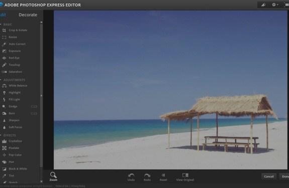 Editar fotos online con Photoshop Express