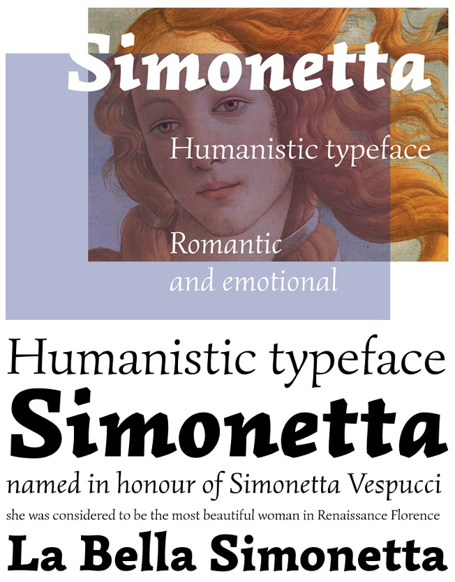 Simonetta, una tipografía inspirada en la modelo del Nacimiento de Venus