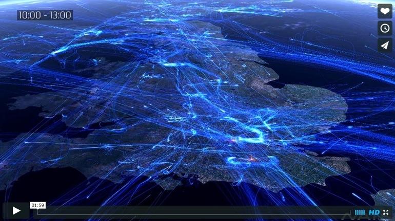 Impresionante visualización del tráfico aéreo europeo