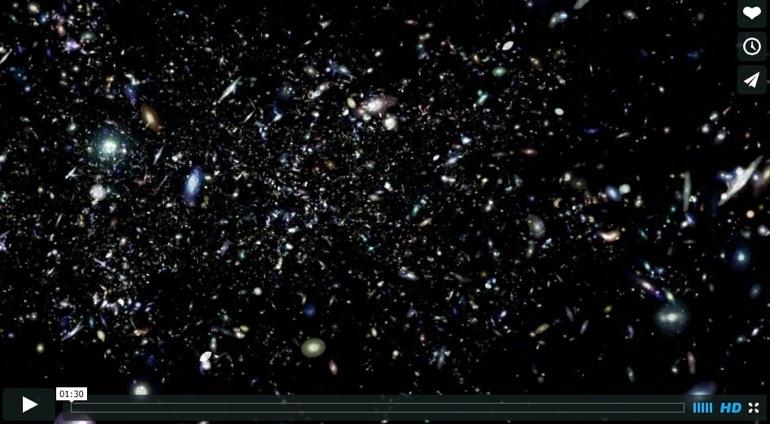 Mágica simulación de vuelo por el Universo