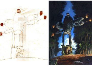 Dibujos infantiles reinterpretados por artistas adultos