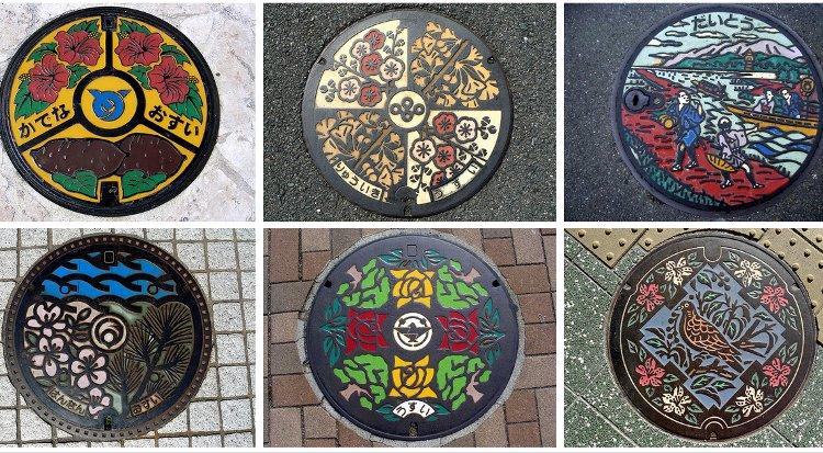 Tapas artísticas para las alcantarillas japonesas