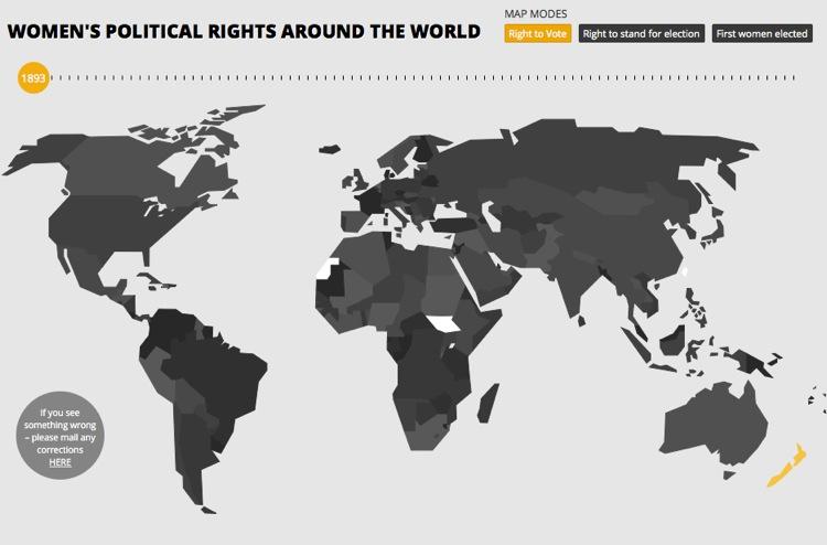 La lucha por el derecho al voto de las mujeres en un mapa