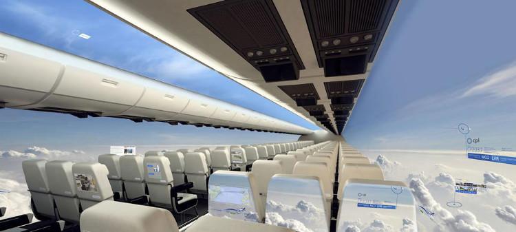 Aviones sin ventanillas para un futuro cercano