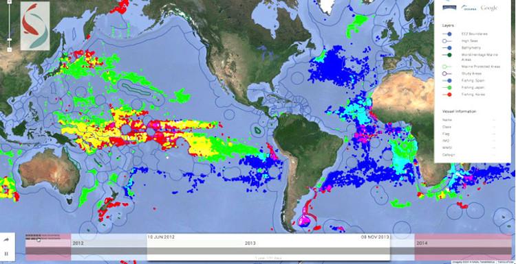 Global Fishing Watch, una web para seguir online la actividad pesquera mundial