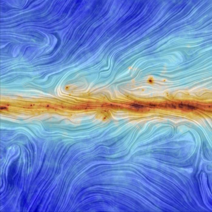La artística visualización del campo magnético en el plano galáctico