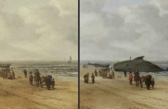 Una ballena varada oculta en un paisaje holandés del s. XVII