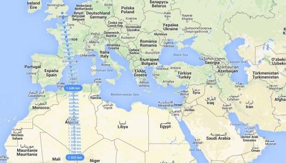 Distancia Londres-Argel-Sur de Argelia