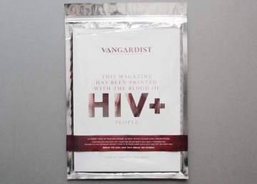Una revista impresa con una tinta que incluye sangre con VIH