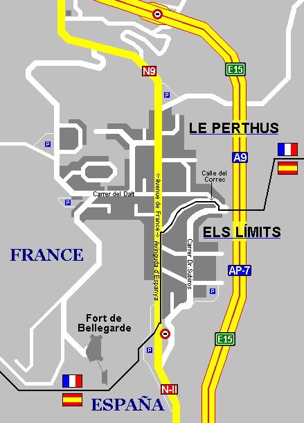 Frontera España-Francia en Le Perthus-La Junquera