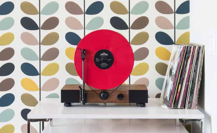 Floating Record, un tocadiscos vertical de diseño retro