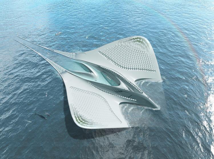Una ciudad acuática con forma de manta raya
