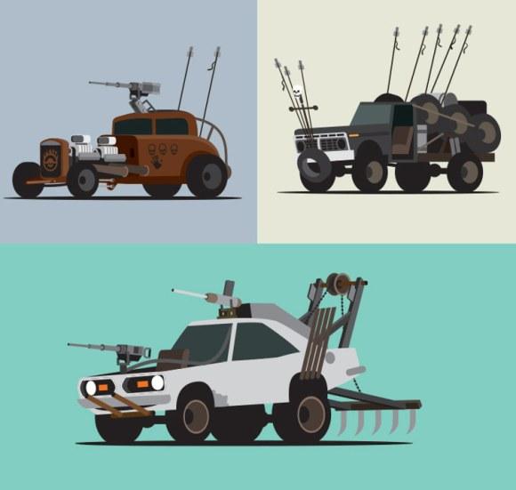 Estramboticos vehiculos Mad Max vistos ilustrador Scott Park 1