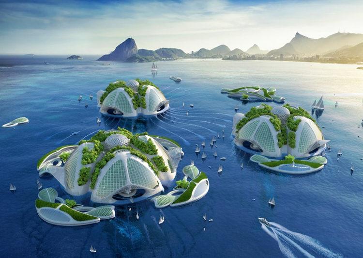 Villas flotantes y autosuficientes hechas con basura sacada del mar