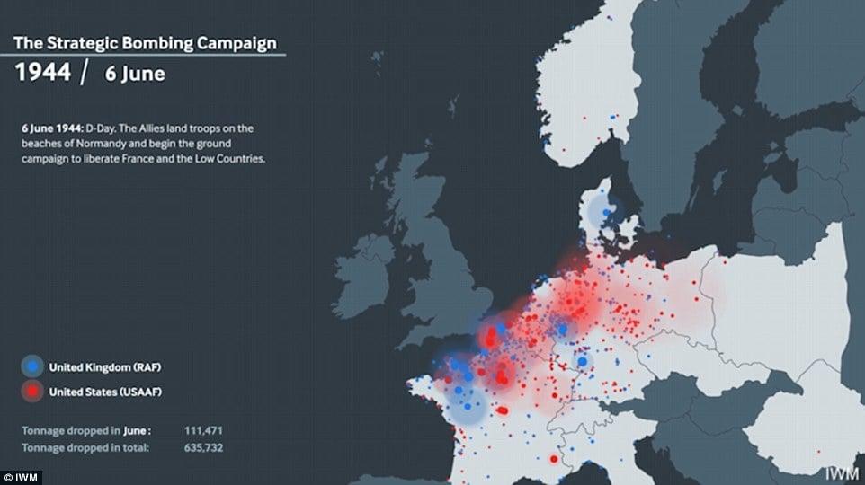Un mapa animado que muestra los bombardeos aliados en Europa occidental durante la Segunda Guerra Mundial