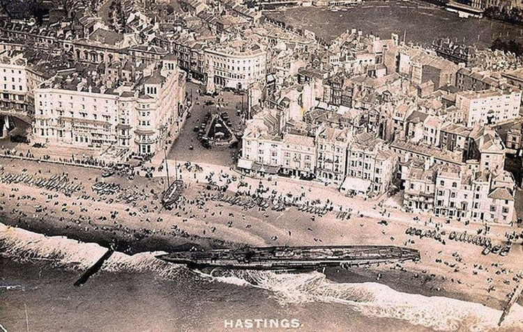 Submarino aleman varado Inglaterra I Guerra Mundial