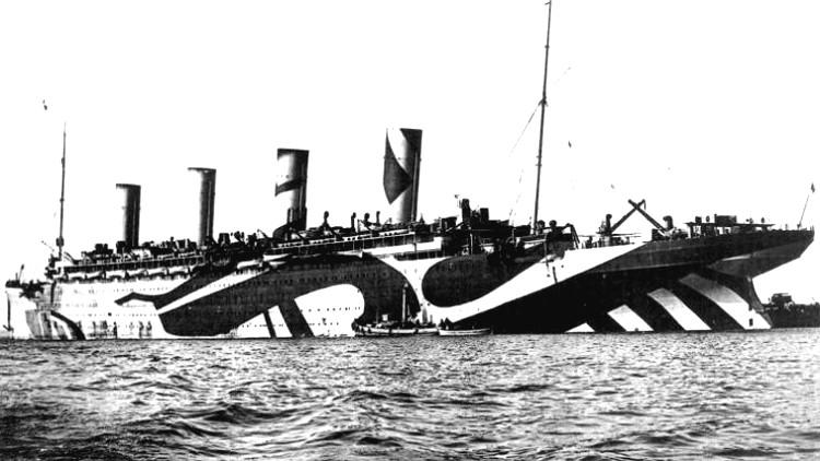 Estrambotico camuflaje antisubmarinos Dazzle I Guerra Mundial